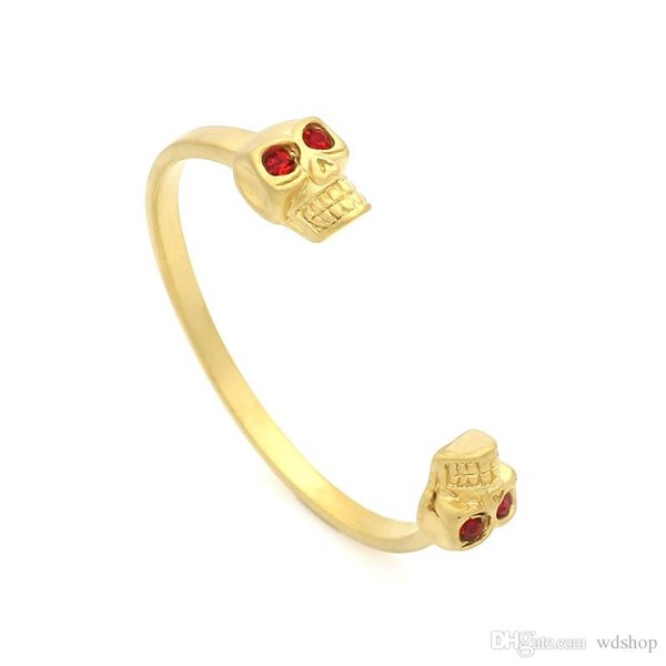 Luxury Gold Personality Double Skull Titanium Steel Bangle With Red Rhinestone Fashion Brand AM Style Bracelet Gift
