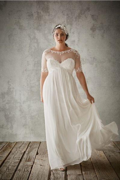 best selling Chiffon Sheath with Illusion Appliques Half Sleeves Detail 9WG3749 Wedding Dresses Plus Size Bridal Dress vestidos de festa
