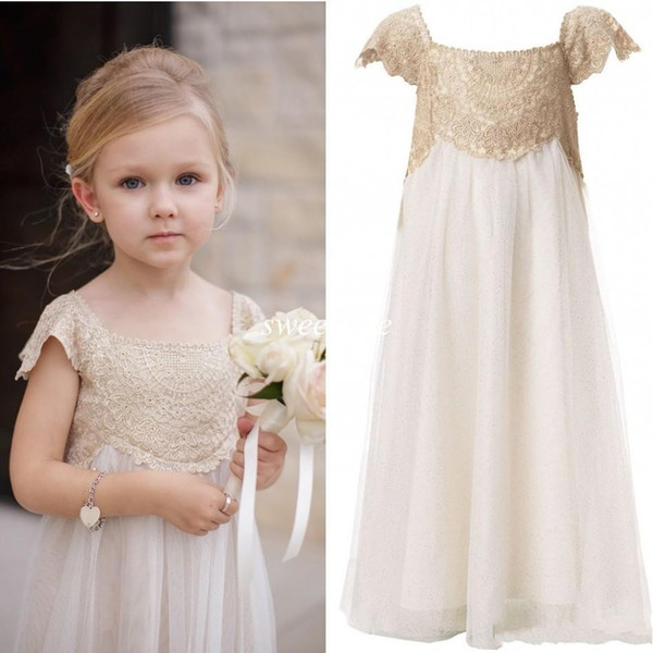 2019 Vintage Flower Girl Dresses for Weddings Cheap Empire Champagne Lace Ivory Tulle First Communion Dresses Boho Floor Length Cap Sleeves