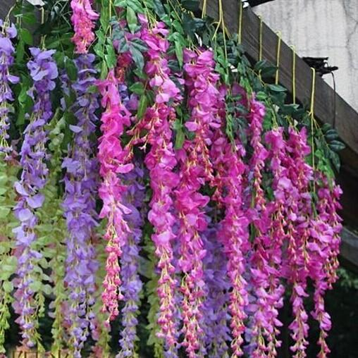 72 pcs lot Artificial Silk Wisteria Flower Vine For Home Garden Decor Wedding Centerpieces Party Decoration Supplies 7 Colors Available