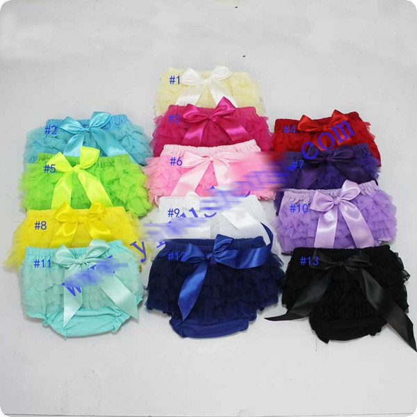 best selling 13 style Baby Cotton Bloomers Girls Ruffle Lace TUTU Skirt Shorts with Ribbon Bow Kids Diaper Cover PP Short Free shipping E668