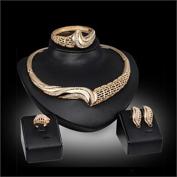 Fashion Jewelry Sets For Women 18K Gold Plated Jewelry Wedding Bridal Rhinestone Necklace Ring Bracelet Earrings Set