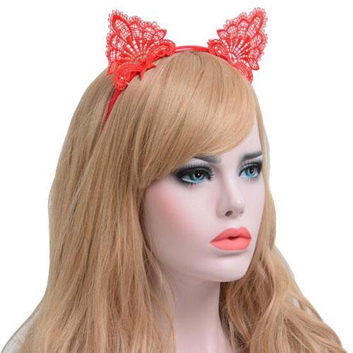 Kadın Saç elastik bantlar Moda Siyah Dantel Kedi Kulaklar Kafa Bandı Düğün Fotoğrafçılığı Portre Tarzı Saç Hoop saç aksesuarları
