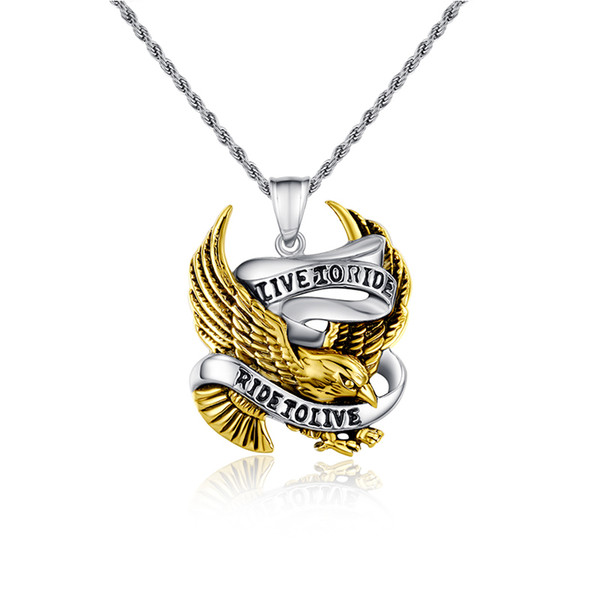 Envío gratis Vintage gold eagle collar colgantes motorista amuletos y encantos hombres joyería