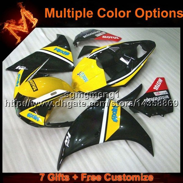 23colors+8Gifts YELLOW BLACK ABS motorcycle Fairing for Yamaha YZF-R1 2009-2011 YZFR1 2009 2010 2011 bodywork ABS Plastic Fairing