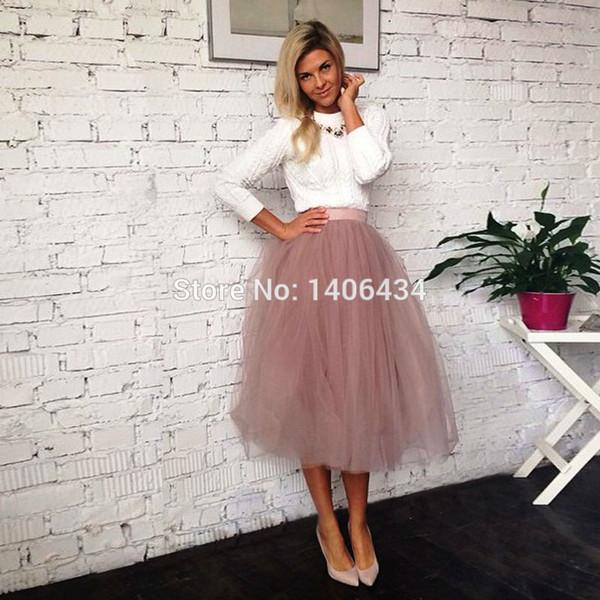 Acheter 2017 Printemps Jupes De Mode Des Femmes D'été Jupe Taille Haute Tutu Adulte Jupe Longue En Tulle Femmes D'été Élastique Haut Wais De $32.66 Du