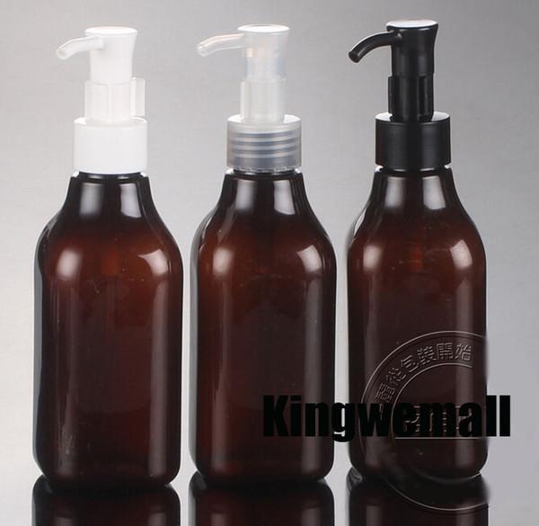 300pcs / lot 200ml bomba ámbarBrown bottle Puede usarse como Emulsión / Champú / Loción de baño / Botella de muestra envío gratis al por mayor