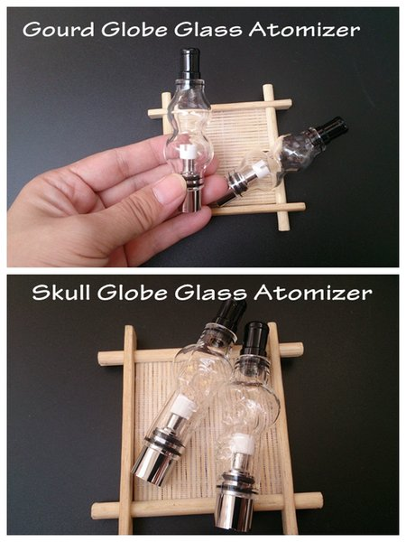 Skull and Gourd glass globe atomizer double deck pyrex tank wax dry herb vaporizer vapor m6 bulb dome glassomizer coils vape pen