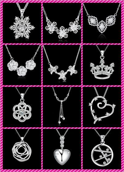 50 estilos elegir 10 piezas de plata 925 cristal plateado vela flores torre de la corona del corazón alas cruzadas del ángel del encanto del collar colgante