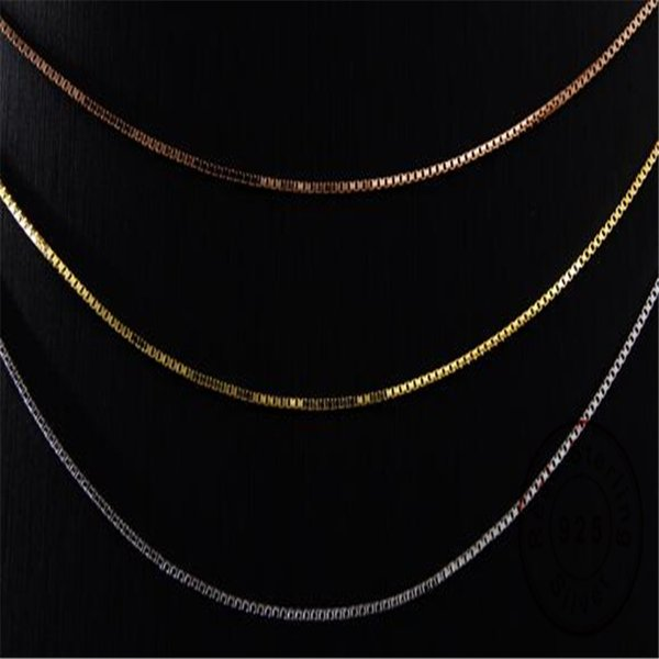 Authentic 925 Sterling Silver jewelry chain fit DIY nacklace gold and silver and rose gold long chain jewelry for girl Christmas gift