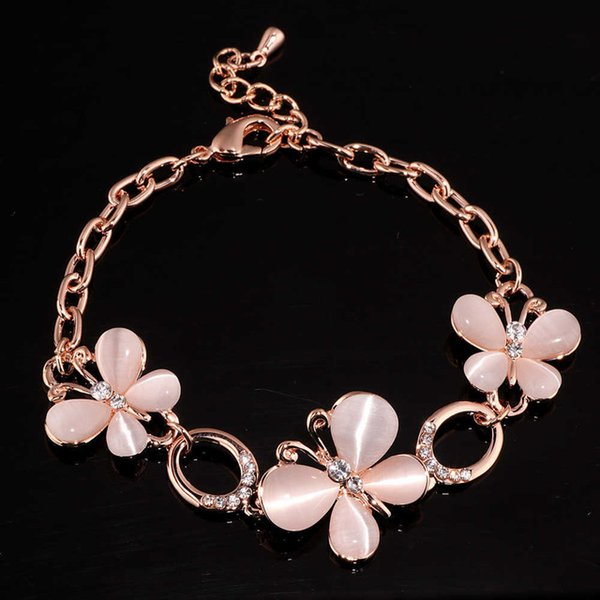 High Quality Trendy Jewelry OL Style Charm Bracelets Rose Gold Color Crystal Bracelets & Bangles Fashion Gift For Women S1707