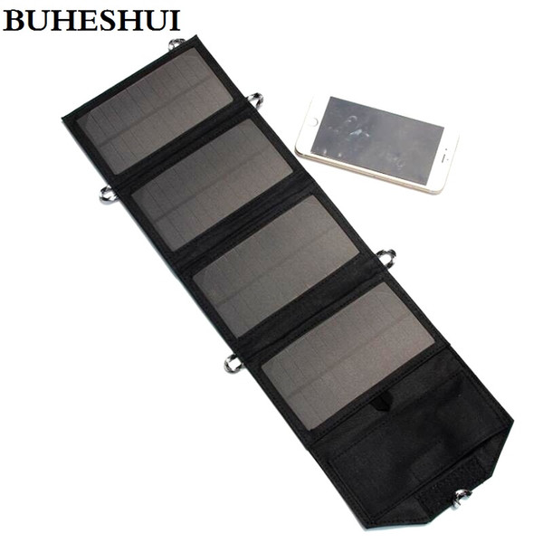 NEW 7W 5V Portable Folding Mono Solar Panel Charger USB Output Controller Pack For Phones Black Waterproof Free Shipping