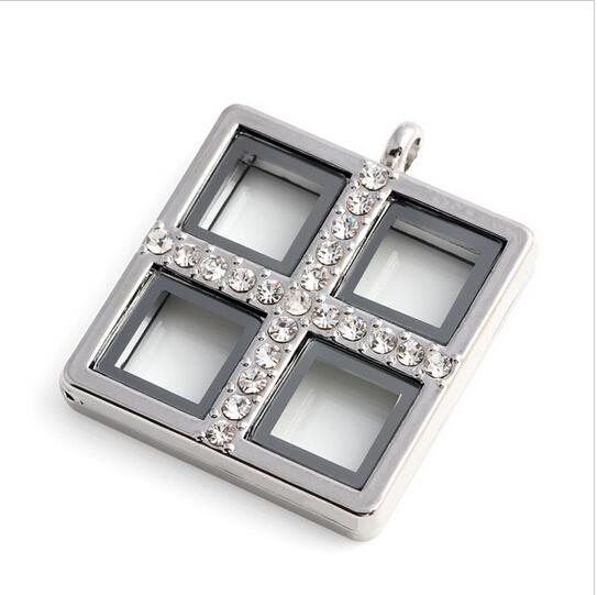 10pcs/lot Free Shipping Zinc Alloy Rhinestone Crosses Square Floating Locket Glass Living Memory Photo Locket Pendant Jewelry