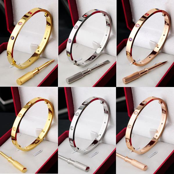 Hot Fashion Silver Rose Gold Plated 316L Stainless Steel White Colorful Rhinstones Screw Bangle Bracelet with Screwdriver
