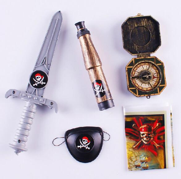 Wholesale Pirates Dress Up Knife Map Compass Goggles Telescope Halloween Party Favors Pretend Play 5pcs