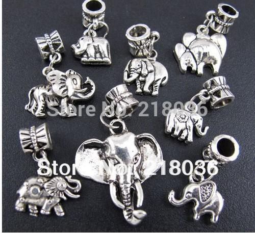 100p Mix Antiquariato Argento Lega animale Elefante ciondola i pendenti di fascini per il braccialetto europeo Moda gioielli che fanno perline Accessori di marca