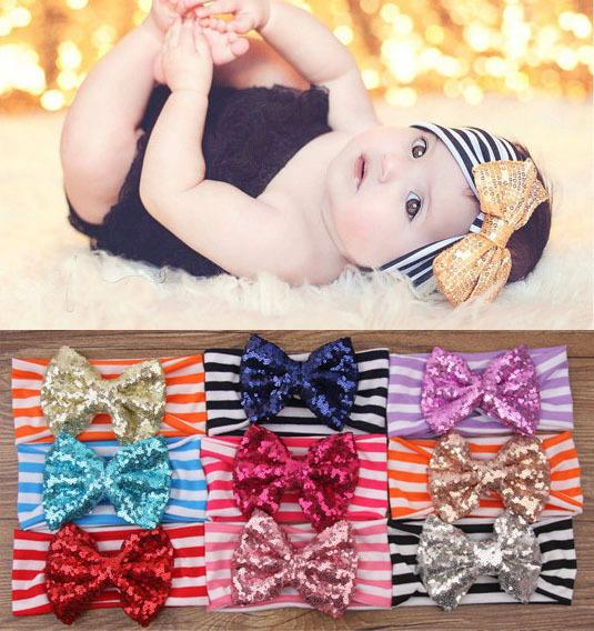 best selling Fedex Free Ship 2015 New Fashion girls Bow headbands baby sequins bowknot headband girls Striped cotton headbands Handmade baby headbands