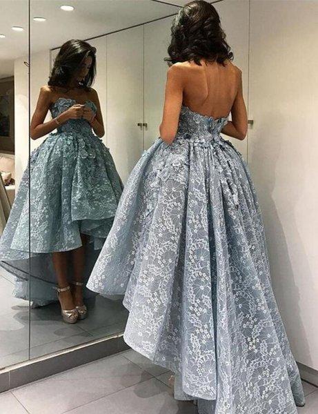 Delicado Applique Alto-Baixo Inchado Vestidos de Baile Curto Frente Longo Voltar vestido de Baile Vestidos de Festa Formal Vestidos PD2302