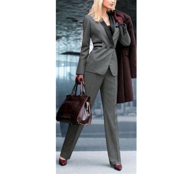 Grey Women Ladies Custom Made Office Business Tuxedos Formal Suits Work Wear 2 pieces (jacket + pants) made to order