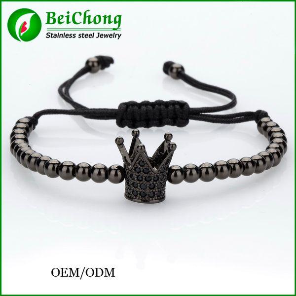 (10pcs) BC Top Brand Fashion Imperial Crown Charm Men's Bracelets Micro Pave CZ Beads Trendy Anil Arjandas Braiding Macrame Bracelets BC-218