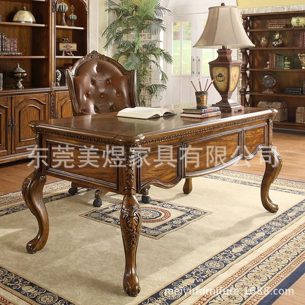 American solid wood furniture and home study desk desk European oak table  computer brand furniture