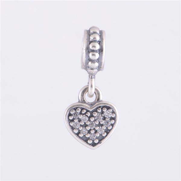 PAVÉ HANGING HEART DANGLE CHARM DIY Beads Real Solid 925 Sterling Silver Not Plated Fits Original Pandora Bracelets & Bangles & Necklaces