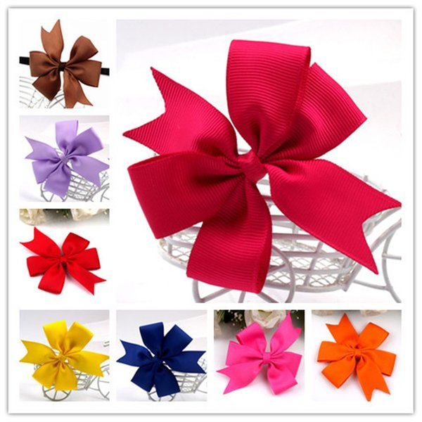 best selling Fashion Baby Grosgrain Ribbon Hair Bow Baby Girl Grosgrain Ribbon Hair Bows Children Hair Accessories Baby Hairbows Girl Hair Bows WITH CLIP