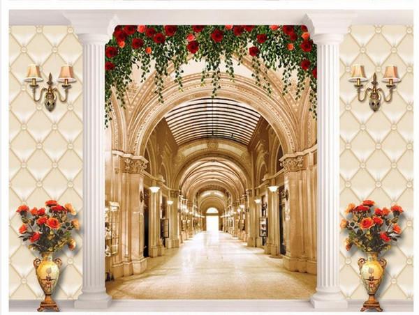 Custom photo wallpaper 3D stereoscopic Promenade column rose pattern vase TV background 3d mural wallpaper 201515844