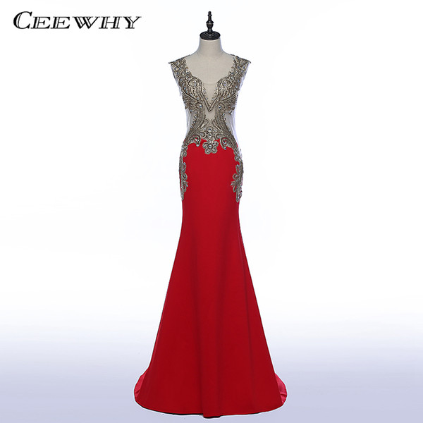 CEEWHY Red Long Formal Evening Dresses 2018 Mermaid with Embroidery Crystals Prom Party Gowns Floor-length Vestido De Festa