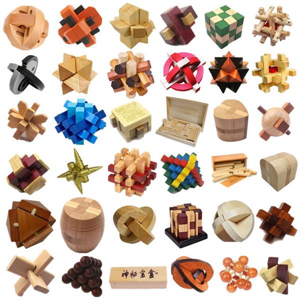 100pcs Kids Education Wooden Toys KongMing Lock Interlocking Burr 3D Puzzles Game Educational Intelligence Christmas Gift Toys for Kids DHL