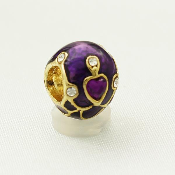 wholesale and retail Factory Metal Jewelry Enamel heart crystal Faberge Egg Rushion Egg Beads Fits for Bracelets