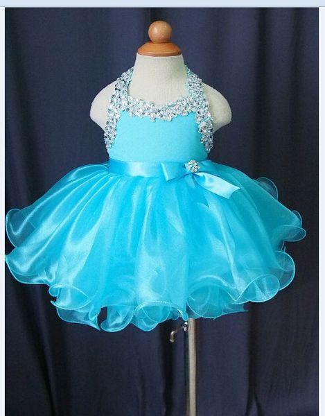 2016 New Short Little Cheap Kids Girls Pageant Halter Beads Flower Girl Dresses Mini Ruffles Crystal Organza Formal Gown Princess Ball Gown