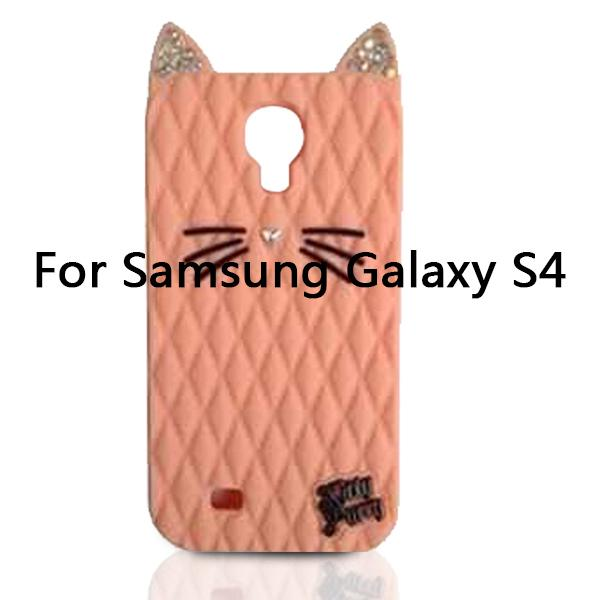 Wholesale-2015 Newest Bling Diamond Katy Perry Cute Cartoon Cat Kitty Purry Soft Silicone Case For Samsung Galaxy S4 i9500/S5 i9600/Note 4