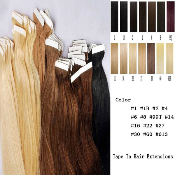 Tape On Skin 4cm Width 10''-26'' 2.5g/pc 40pcs/100g Straight Indian Hair Skin Weft Remy Tape In/On Human Hair Extensions