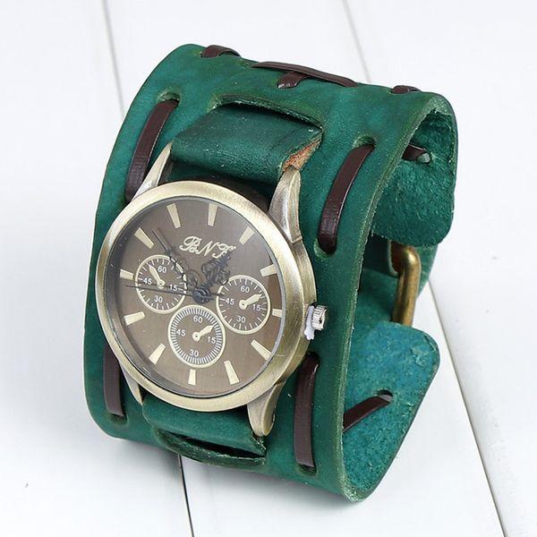 DHL Free Vintage genuine leather bracelet watch punk men teens quartz wristwatch cuff bangle party festive gift Three dials Watches