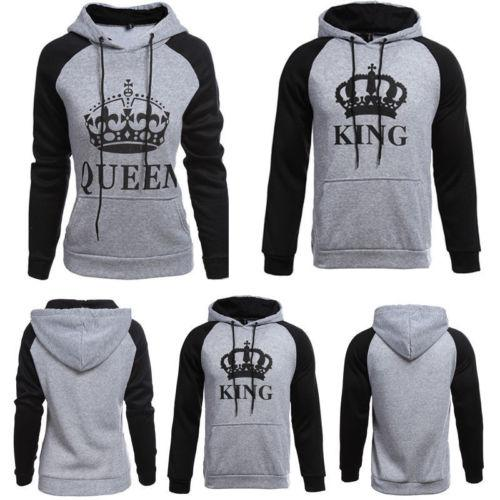 80b7b2c1e764 Wholesale- NEW FASHION KING AND QUEEN HOODIES VALENTINE NEW MULTI COLORS  MATCHING CUTE LOVE COUPLES SPORT CLOTHES RUNNING CLOTHES