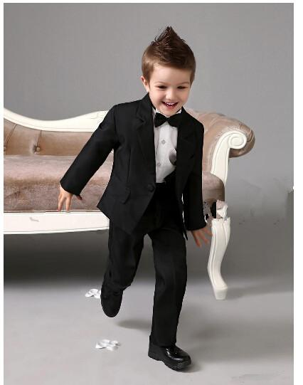 Suits cool Boys Tuxedo With Black Bow Tie kids formal dress boys suits fashion kids suits 2 pieces of jacket + pants custom made