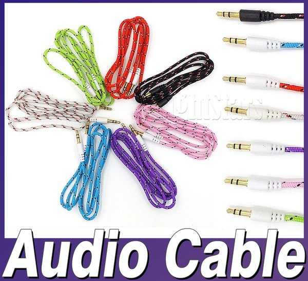 2018 hot sell colorful Braided AUX 3.5mm Stereo Auxiliary Car Audio Cable Male to Male for iPhone 6s 6+ Samsung Galaxy S6 edge ipad MP3