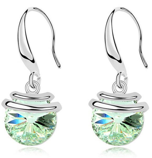 Korean Fashion Jewelry Swarovski Elements Crystal Drop Earrings 18k Gold Filled Women Dangle Earrings 9651