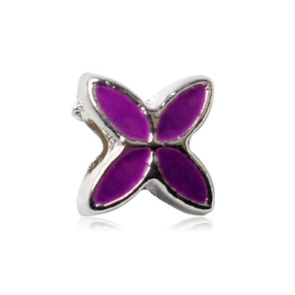 Purple Lucky Clover Painted Charm Bead Big Hole Fashion Women Jewelry European Style For Pandora Bracelet
