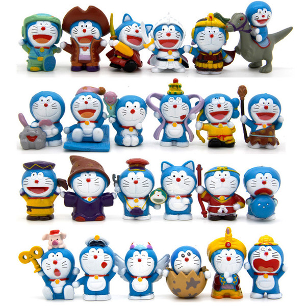 24pcs/set Doraemon cartoon cat Toppers Dolls PVC Action Figures Toy Fairy Garden Miniatures Craft for kids Christmas Birthday Gift