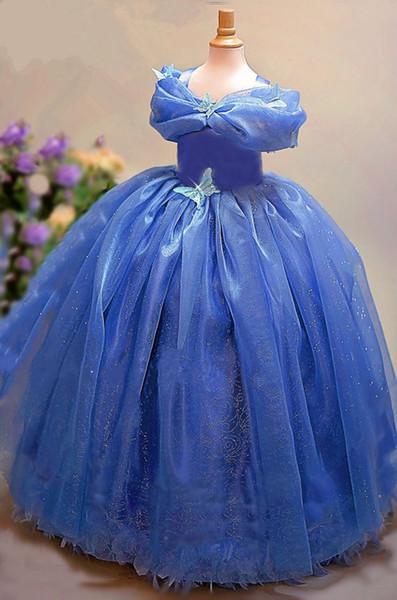 Cinderella Little Girls Pageant Kleider Schmetterling Appliqued Square Neck bodenlangen Pailletten Blumenmädchen Kleid Plissee Kid Kleider mit Bogen