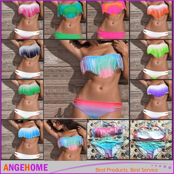 2016 Donne Sexy Estate Bikini Boho Costumi da bagno imbottiti Gradiente Colorful Fringe Nappe Real Class Costume da bagno 10 colori S / M / L 8 colori