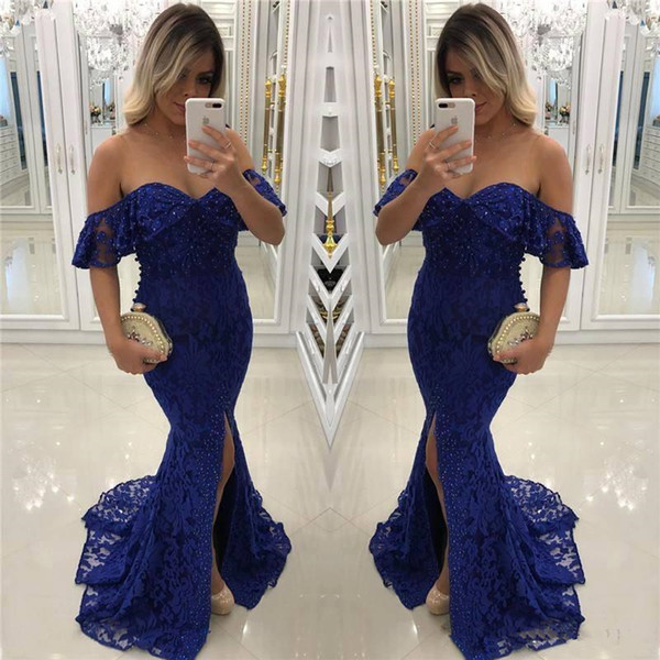 Navy blue bling beaded mermaid lace Prom Dresses 2018 Nigerian African off shoulder modest formal Evening Dresses Gowns
