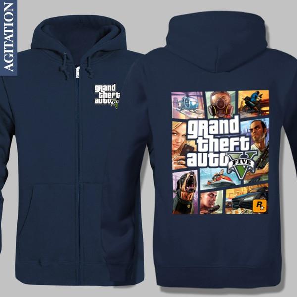 Wholesale-Fashion Design Fleece Jacket Velvet Sport Coat Grand Theft Auto GTA Printed Hoodies Boutique Outwear Winter Warm Style Sports