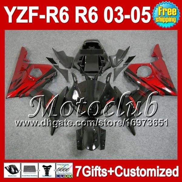 7gifts + Body Pour YAMAHA YZFR6 03 04 05 YZF-600 YZF-R6 03-05 Rouge Noir C9350 YZF600 YZF R6 2003 2004 2005 YZF 600 Kit De Carénage flammes rouges