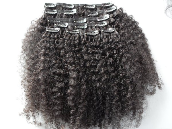 best selling brazilian human virgin hair product clip in hair extensions afro kinky curly hair weft natural black color