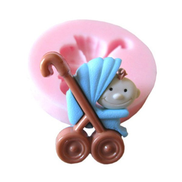 Lovely 3D BABY Car Shape Cooking Cake Decorating Tools Baby Carrier Fondant Silicone Mold Pastry Mould for Sale