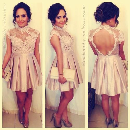 2015 bridesmaid dresse Lace Party Dresses Backless High Neck Mini Cap Sleeve Prom Cocktail Dress Graduation Homecoming Queen Dress Gowns