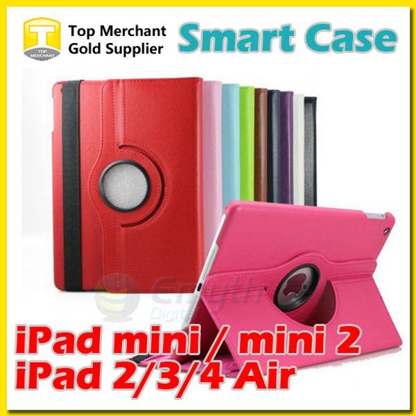 360 Degrés Rotation Smart Stand PU Housse En Cuir Pour Apple ipad pro air 2 mini 4 Retina Galaxy Tab 4 S2 T230 T330 T530 T715 T810